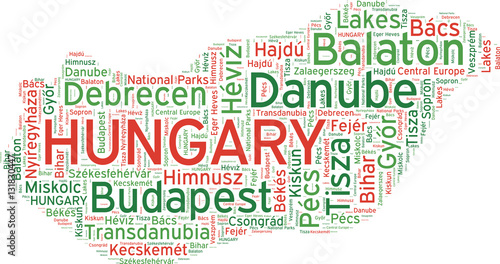 Photo Hungary state map vector tag cloud illustration