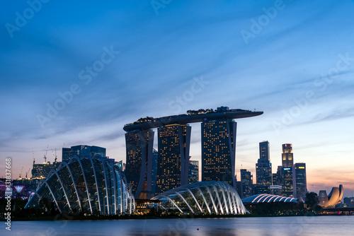 Tuinposter Singapore シンガポール・マリーナベイエリア 夕景
