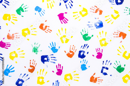 Fényképezés  Kid's hand printed on white background