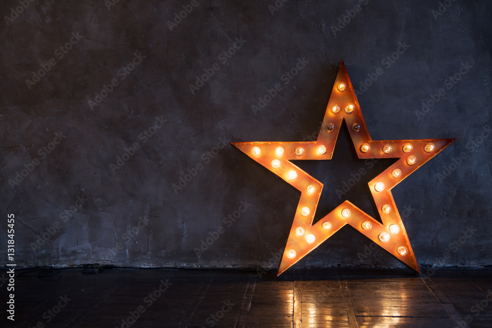 Fototapety, obrazy: Decorative star with lamps on a background of wall. Modern grungy interior