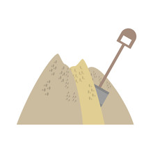 Mining Mineral Sand Pile Shovel Vector Illustration Eps 10