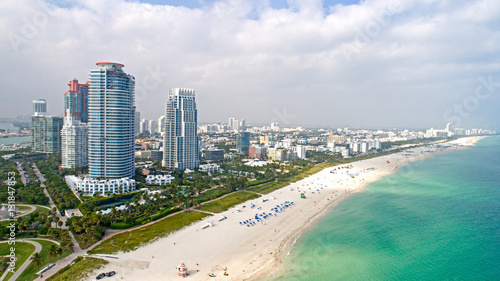 Obraz na płótnie Miami South Beach Widok z lotu ptaka Sand Ocean i High Rises