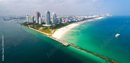 Miami Florida South Beach Aerial Panorama © CascadeCreatives