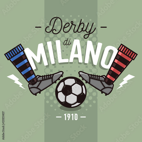 Stampa su Tela Milanese Derby Label Design. Soccer Boots And Ball Flat Thin Lin