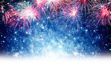 Feuerwerk, Blauer Hintergrund Silvester, Neujahr