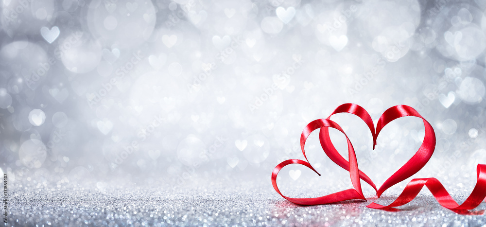 Fototapety, obrazy: Valentines Day Decoration - Ribbon Shaped Hearts On Shiny Background