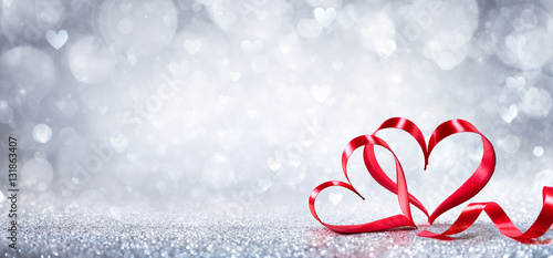 Valentines Day Decoration - Ribbon Shaped Hearts On Shiny Background