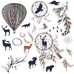 Fototapetavector dreamcatchers with feathers, trees and animals