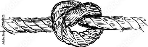 Fotografía  Rope with knot vector illustration