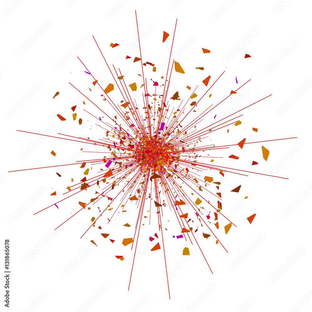 Eksploduj Flash, eksplozja Cartoon, Red Star Burst Pojedynczo na białym tle