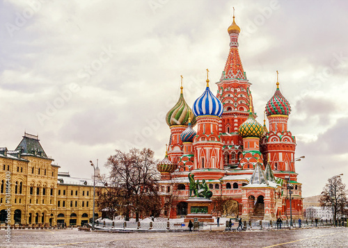 Poster Monument St. Basil's Cathedral in Moscow, winter view