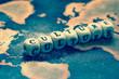 Leinwanddruck Bild - CULTURE on grunge world map