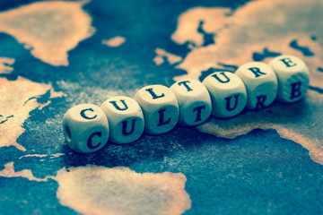 CULTURE on grunge world map