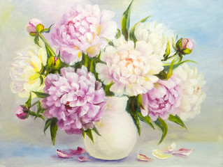 Obraz Peony pink flowers in a white vase. Oil painting illustration
