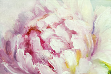 Obraz na SzklePink and white peony background. Oil painting floral texture