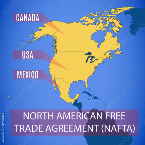 Vector Map Of The North American Free Trade Agreement Nafta Buy