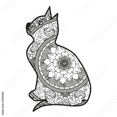 Vector Illustration Of A Cat Mandala For Coloring Book Gatto