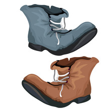 Old Worn Shoes Brown And Gray Color. Vector