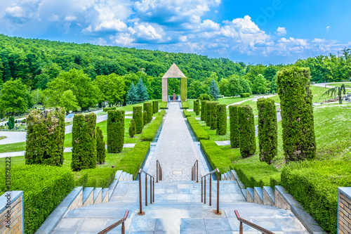Wall Murals Cemetery Zagreb town cemetery landmark. / Scenic view at cemetery Mirogoj landmark in capital cit of Croatia, Zagreb sightseeing spot.