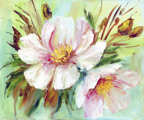 FototapetaPink and white peony background. Oil painting floral texture