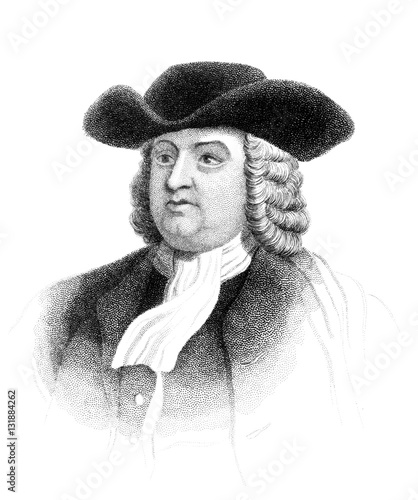 Fotomural An engraved vintage illustration portrait of William Penn the founder of the Pro