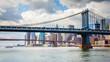 Skyline of downtown New York, Brooklyn Bridge and Manhattan