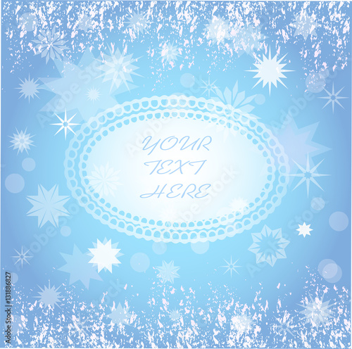 empty frame and snowflakes background for winter themes designs