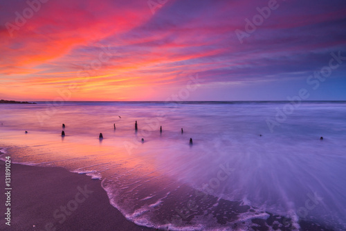 Fotografía  Vibrant sunrise seascape in New Jersey