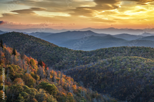 Aluminium Prints Mountains Blue Ridge Mountains, autumn scenic, North Carolina