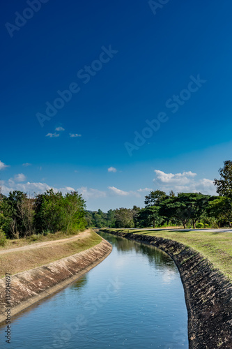 Poster Channel Irrigation canal with blue sky