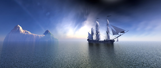 FototapetaPirate Ship In blue sky and beautiful ocean 3d rendering