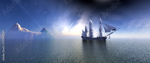 Fotobehang Schip Pirate Ship In blue sky and beautiful ocean 3d rendering