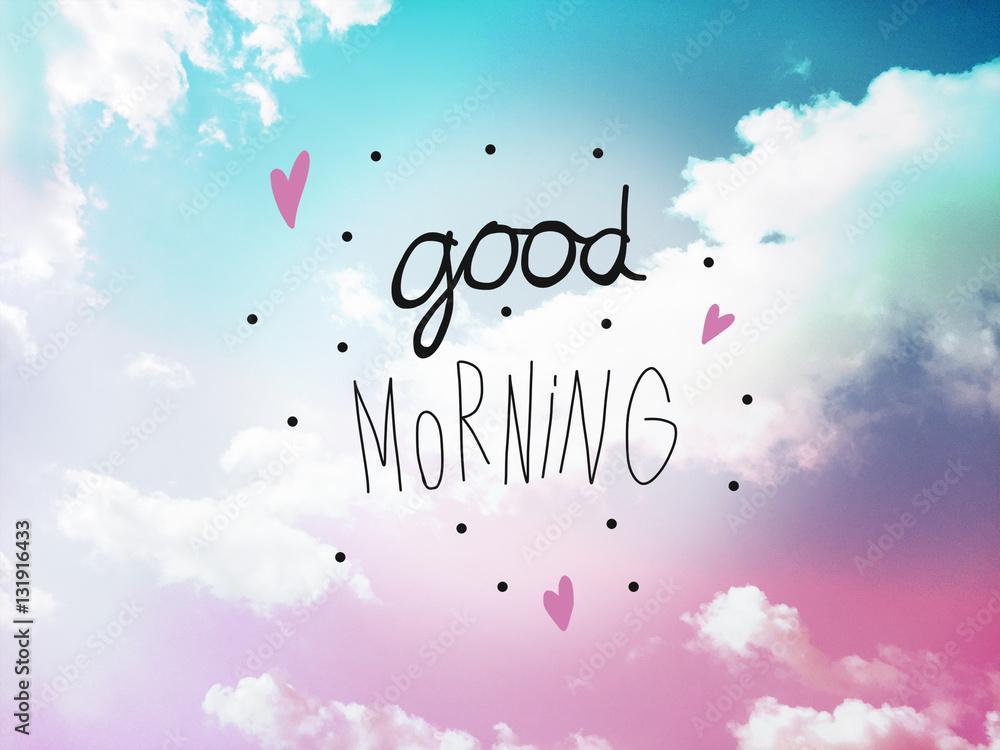 Guten Morgen Wort Brief Am Rosa Und Blauen Pastell Himmel