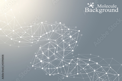 Fototapety, obrazy: Modern Structure Molecule DNA. Atom. Molecule and communication background for medicine, science, technology, chemistry. Medical scientific backdrop.