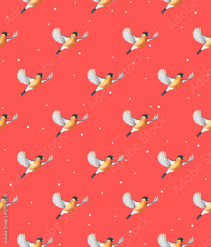 Poster Watercolor bullfinch on a red background. Bird in flight handwork drawing. Christmas symbol. Beautiful winter bird with grey and pinkish plumage soaring in clouds. Handwork. Seamless pattern