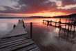 Magnificent fire sunset at Port Byala, near the city of Varna, Bulgaria