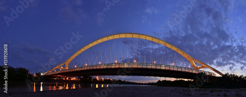 Panorama of the Third Millennium bridge in the blue hour, Zaragoza