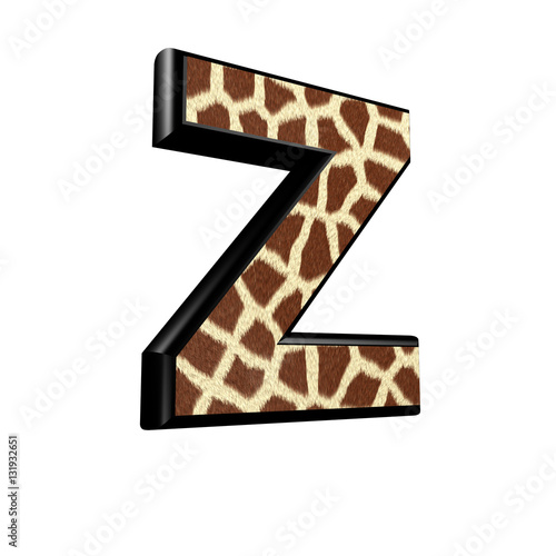 Photo  3d letter with giraffe fur texture