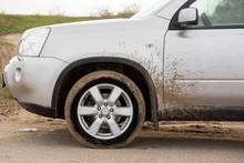 Dirty Forward Wheel Of The Car.