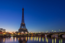 The Eiffel Tower At Sunrise In...