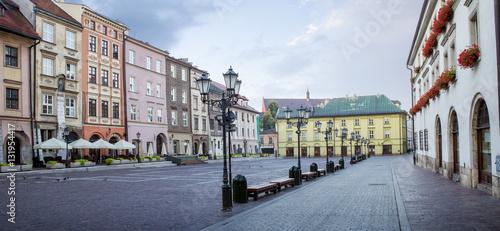 Fototapeta Panorama of little market square (Maly Rynek) in Krakow, Poland obraz