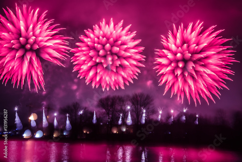 Poster Rose Abstract, blurry, bokeh-style colorful photo of fireworks above the river in New Year