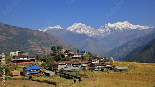 Wall Murals Nepal Village Sikle and snow capped Manaslu