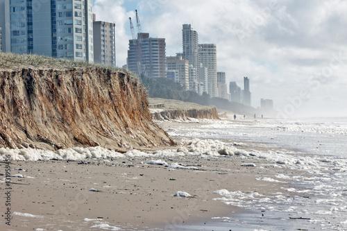 Obraz na płótnie Beach erosion after storm activity
