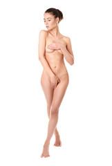 Beautiful naked woman on white background