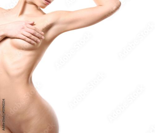 Beautiful naked woman on white background, closeup