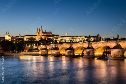 Staande foto Praag Beautiful view with Famous Charles Bridge, tower and Vltava river, Prague, Czech Republic.