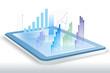 Raport biznesowy i analiza finansowa - wizualizacja przestrzenna na tablecie.
