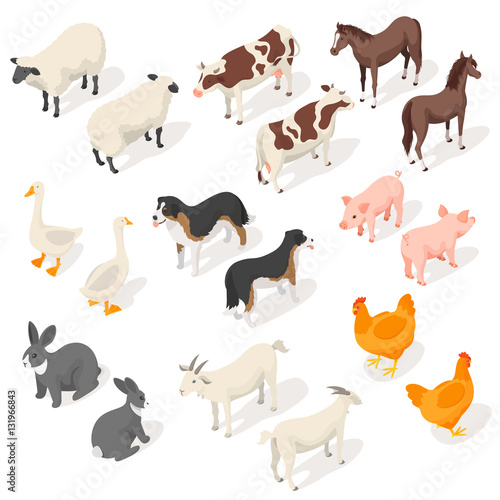 Isometric 3d vector set of farm animals Wall mural