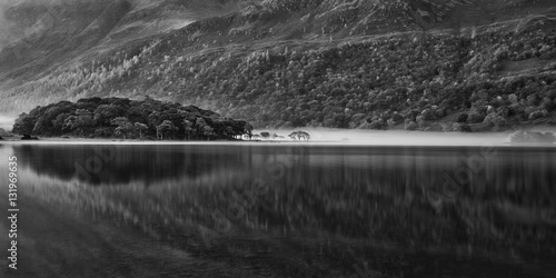 Beautiful Autumn Fall black and white landscape image of Crummoc